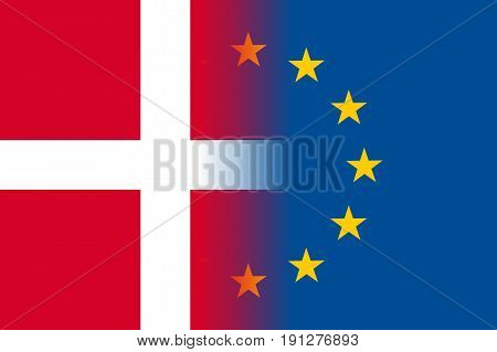 Denmark national flag with a flag of European Union twelve gold stars, solidarity and harmony with EU, member since 1 January 1973. Vector flat style illustration