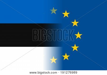 Estonia national flag with a flag of European Union twelve gold stars, solidarity and harmony with EU, member since 1 May 2004. Vector flat style illustration