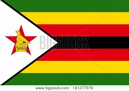 National flag of Zimbabwe. Symbol african state in proportion correctly and official colors. Patriotic sign East Africa country. Vector icon illustration