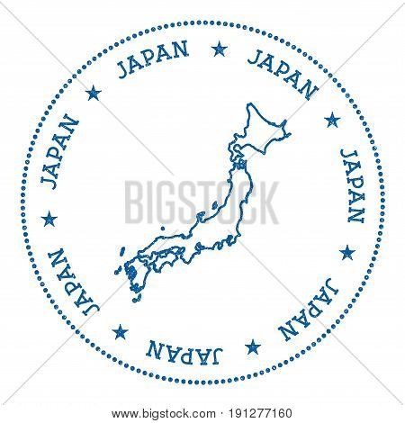 Japan Vector Map Sticker. Hipster And Retro Style Badge With Japan Map. Minimalistic Insignia With R