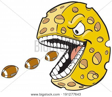 Vector cartoon clip art illustration of a cheese wheel or head mascot with a face and mouth eating footballs which are on separate layer.