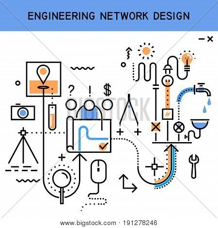 Vector flat line abstract process illustration of engineering network design installation of communications: water supply sewerage electricity heating. Concept for website header banner layout.