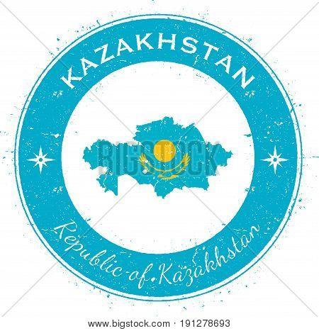 Kazakhstan Circular Patriotic Badge. Grunge Rubber Stamp With National Flag, Map And The Kazakhstan