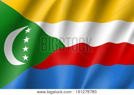 Waving flag Union of the Comoros. Patriotic sign african country in official national colors and proportion correctly. Patriotic sign East Africa state. Vector icon illustration