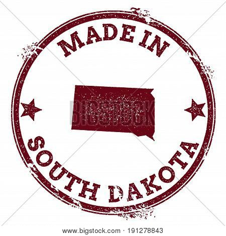 South Dakota Vector Seal. Vintage Usa State Map Stamp. Grunge Rubber Stamp With Made In South Dakota
