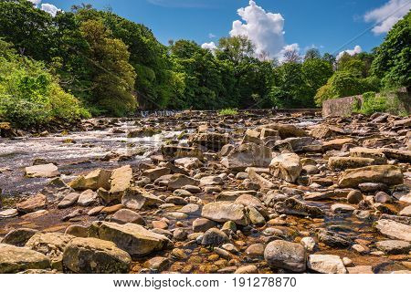 River Swale below Richmond Falls - The market town of Richmond is sited at the very edge of the North Yorkshire Dales on the banks of River Swale