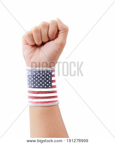 USA flag clenched fist isolated on white background with clipping path Independence day.