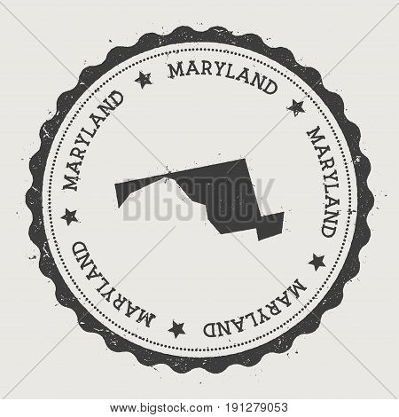Maryland Vector Sticker. Hipster Round Rubber Stamp With Us State Map. Vintage Passport Stamp With C