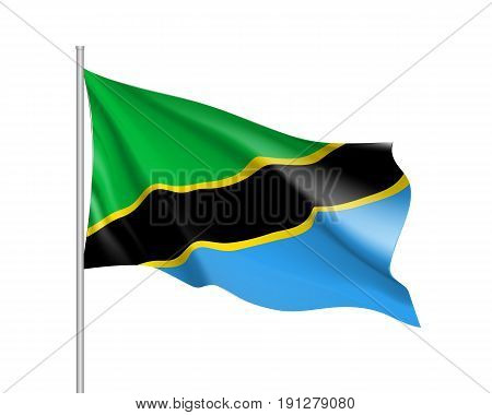 Tanzania Flag. Symbol african state in proportion correctly and official colors. Patriotic sign Eastern Africa country. Vector icon illustration