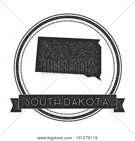 South Dakota Vector Map Stamp. Retro Distressed Insignia With Us State Map. Hipster Round Rubber Sta