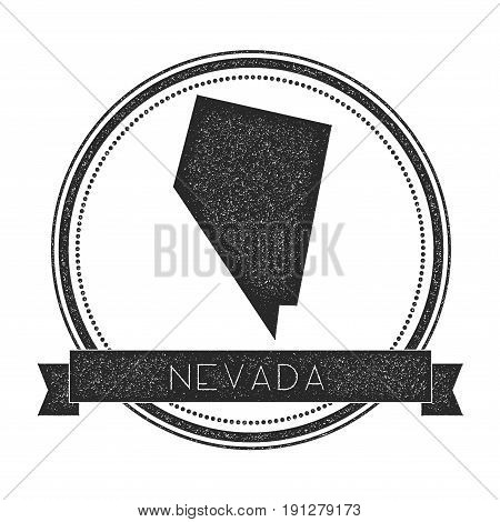 Nevada Vector Map Stamp. Retro Distressed Insignia With Us State Map. Hipster Round Rubber Stamp Wit