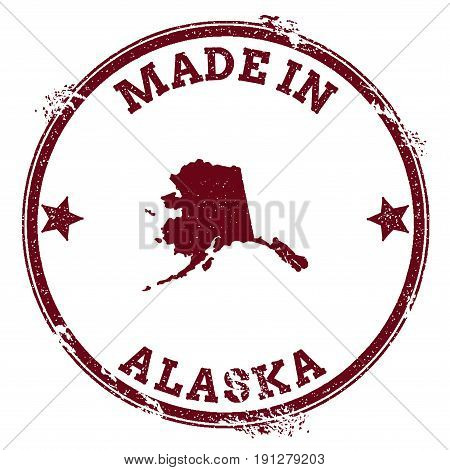 Alaska Vector Seal. Vintage Usa State Map Stamp. Grunge Rubber Stamp With Made In Alaska Text And Us