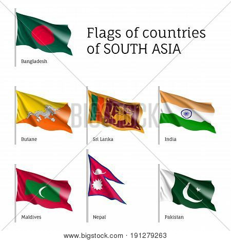 Set of waving flags on flagpole of South Asian countries: Bangladesh, India and Maldives, Sri Lanka, Butane and Nepal. Collection with 7 signs of Asian states. Vector isolated icons