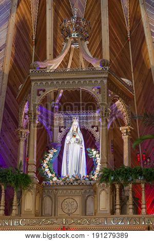 KRZEPTOWKI POLAND - AUGUST 27: Statue of the Holy Virgin of Fatime Sanctuary on august 27 2012 in Krzeptówki. Krzeptowki Sanctuary is place where at 7 june 1997 was Pope John Paul II.