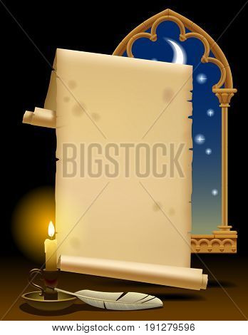 Old parchment with candle light, feather and gothic decorative window. Vintage stylized banner and template design