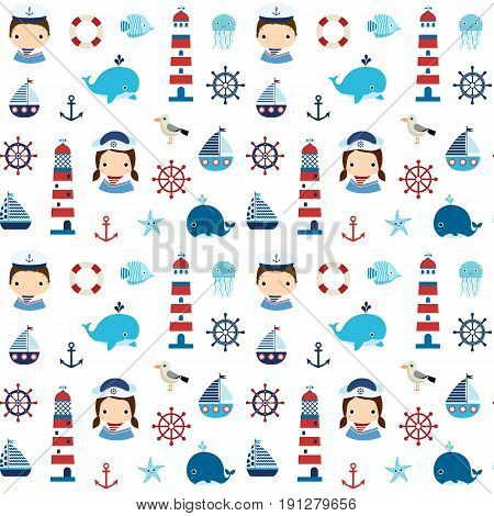 Cute nautical seamless pattern with boy girl and marine elements for textile paper and backgrounds