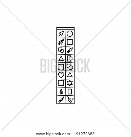 white background with monochrome silhouette of basic tool box for designer graphic vector illustration
