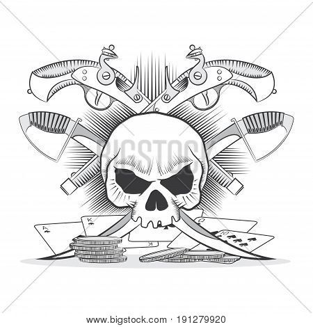 Illustration depicting a skull, pistols, sabers and cards in the form of a tattoo