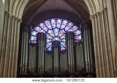 PARIS FRANCE - APRIL 26: Rose window at Cathedral Notre Dame de Paris on april 26 2013 in Paris.The cathedral of Notre Dame is one of the top tourist destinations in Paris.