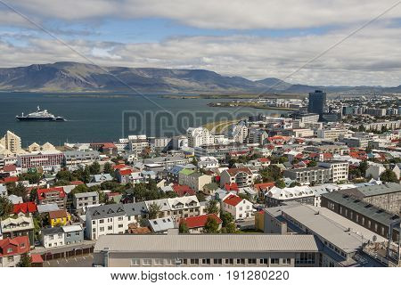 Aerial view on City of Reykjavik from Hallgrimskirkja Cathedral.