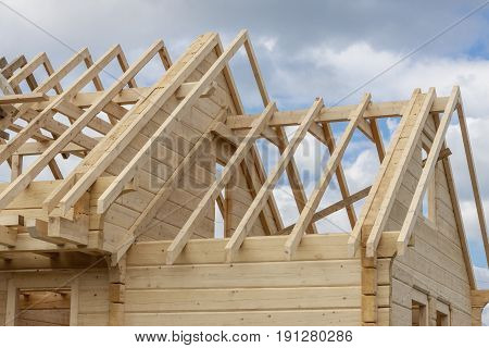 Structure of a wooden house under construction - Poland.