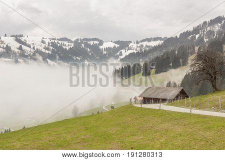 View on Mountain asphalt route - Switzerland.