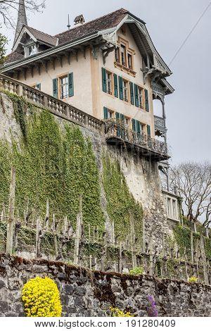 View on Spiez village - Switzerland in Europe.