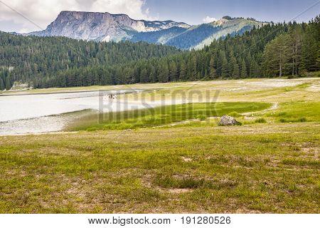 View on Crno lake in Durmitor Montenegro. UNESCO national park. Balkans.