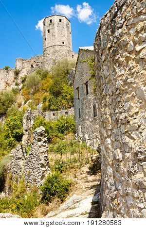 View on old fortification on the hill in Pocitelj - Bosnia and Herzegovina.