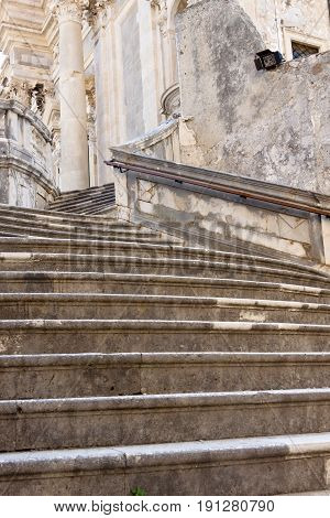 Stony stairs in Dubrovnik Croatia - summer day.