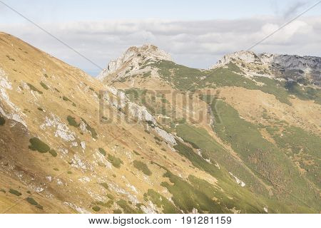 View from Kondracka Kopa to Giewont - Tatras Mountains. Polish National Park.