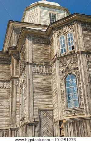 Part of beauty old wooden orthodoxy church in Pobirka near Uman - Ukraine Europe.