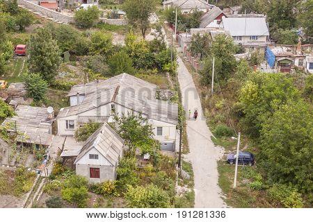 Aerial view on part of K amianets-Podilskyi old village - Ukraine Europe.