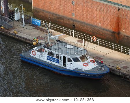 Polizei (police) Boat In Hamburg