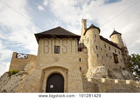 Poland Silesia. View on front of old stony castle in Bobolice.