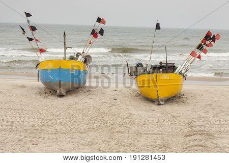 Sandy Baltic coast in winter - Rewal Poland.