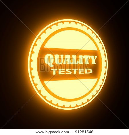 Stamp icon. Graphic design elements. 3D rendering. Quality tested text. Yellow neon illumination