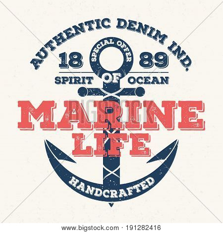 Marine life vintage typography for t shirt print. T-shirt graphic. Vector