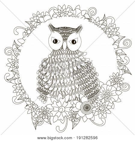 Monochrome doodle hand drawn owl in flowers frame. Anti stress stock vector illustration