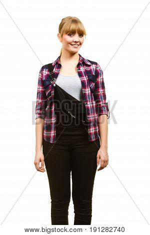 Gardening concept. Smiling attractive woman in pink check shirt and dungarees. Isolated background