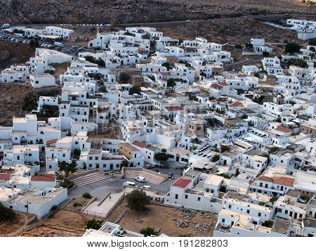 ariel view of the town of lindos in rhodes greece