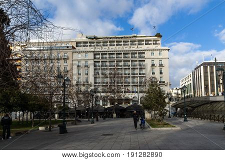 ATHENS, GREECE - JANUARY 20 2017:  Panorama of Syntagma Square in Athens, Attica, Greece