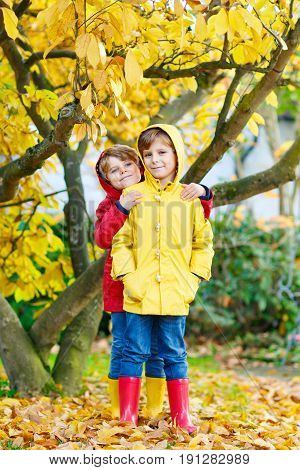 Two little best friends and kids boys autumn park in colorful clothes. Happy siblings children having fun in red and yellow rain coat and rubber boots. Family outdoors.