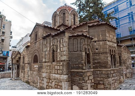 ATHENS, GREECE - JANUARY 20 2017:  Church of Panaghia Kapnikarea in Athens, Attica, Greece