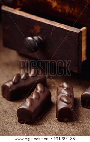 Luxury Handmade Candies On Wooden Background