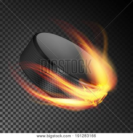 Realistic Ice Hockey Puck In Fire. Burning Hockey Puck On Transparent Background. Vector