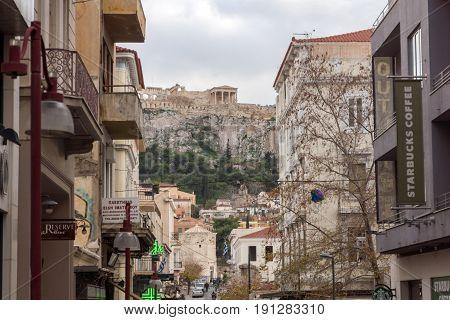 ATHENS, GREECE - JANUARY 20 2017:  Typical street near Monastiraki square, Athens, Attica, Greece