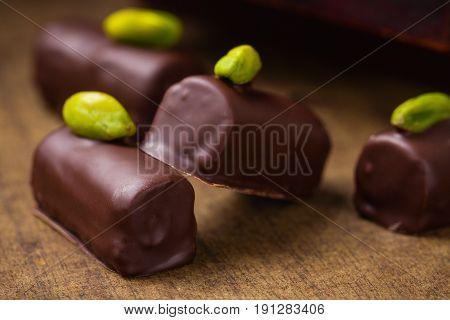 Handmade Luxury Chocolate Candies With Pistachio