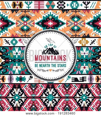 Fancy abstract colorful geometric  pattern in tribal style
