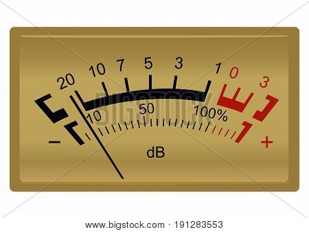 Retro stereo decibel meter isolated on a white background